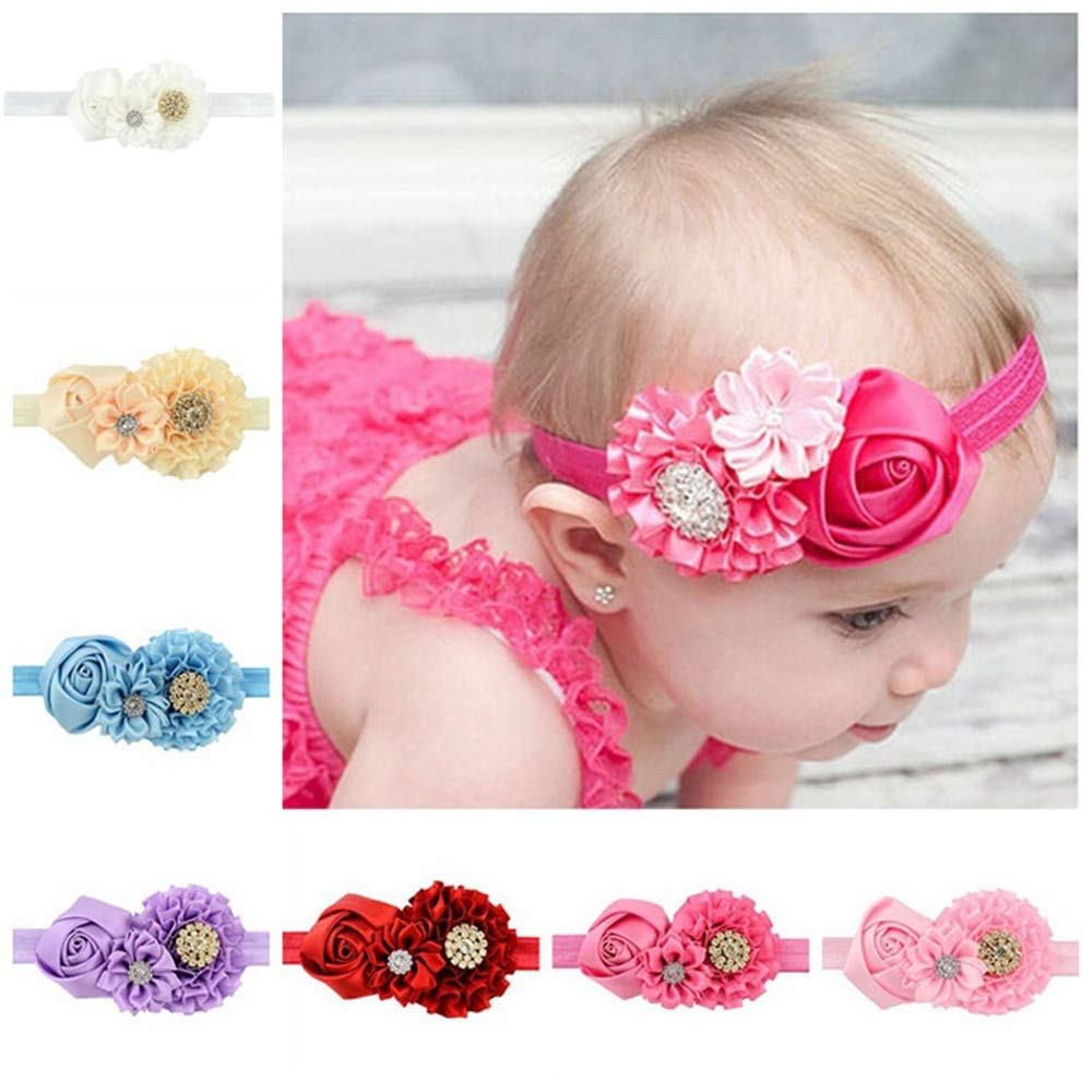 Zhao Xiemao Children's Hair Band Hair Accessories Rose Baby Baby Headband, 7 Packs.