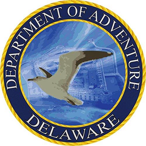 Delaware Department of Adventure Vinyl Sticker by Die-cut, Vinyl, All-weather, Waterproof, Super Adhesive, Outdoor & Indoor Use Sticker. INCLUDES FREE BONUS STICKER.