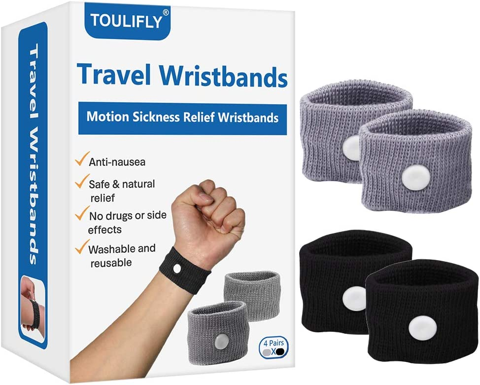 Travel Wristbands,Travel Motion Sickness Relief Wrist Band,Natural Nausea Relief,4-Pair: Health & Personal Care