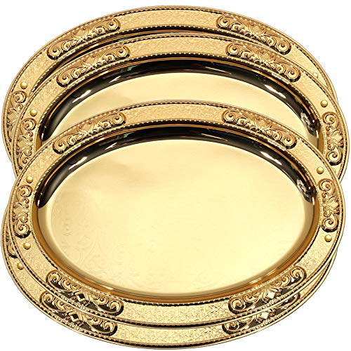 Maro Megastore (Pack of 4) 17.5-Inch x 12.8-Inch Oval Iron Gold Serving Tray Edge Floral Engraved Decorative Holiday Wedding Birthday Dessert Cake Wine Candle Serving Platter Plate 2160Gs M Ts-125