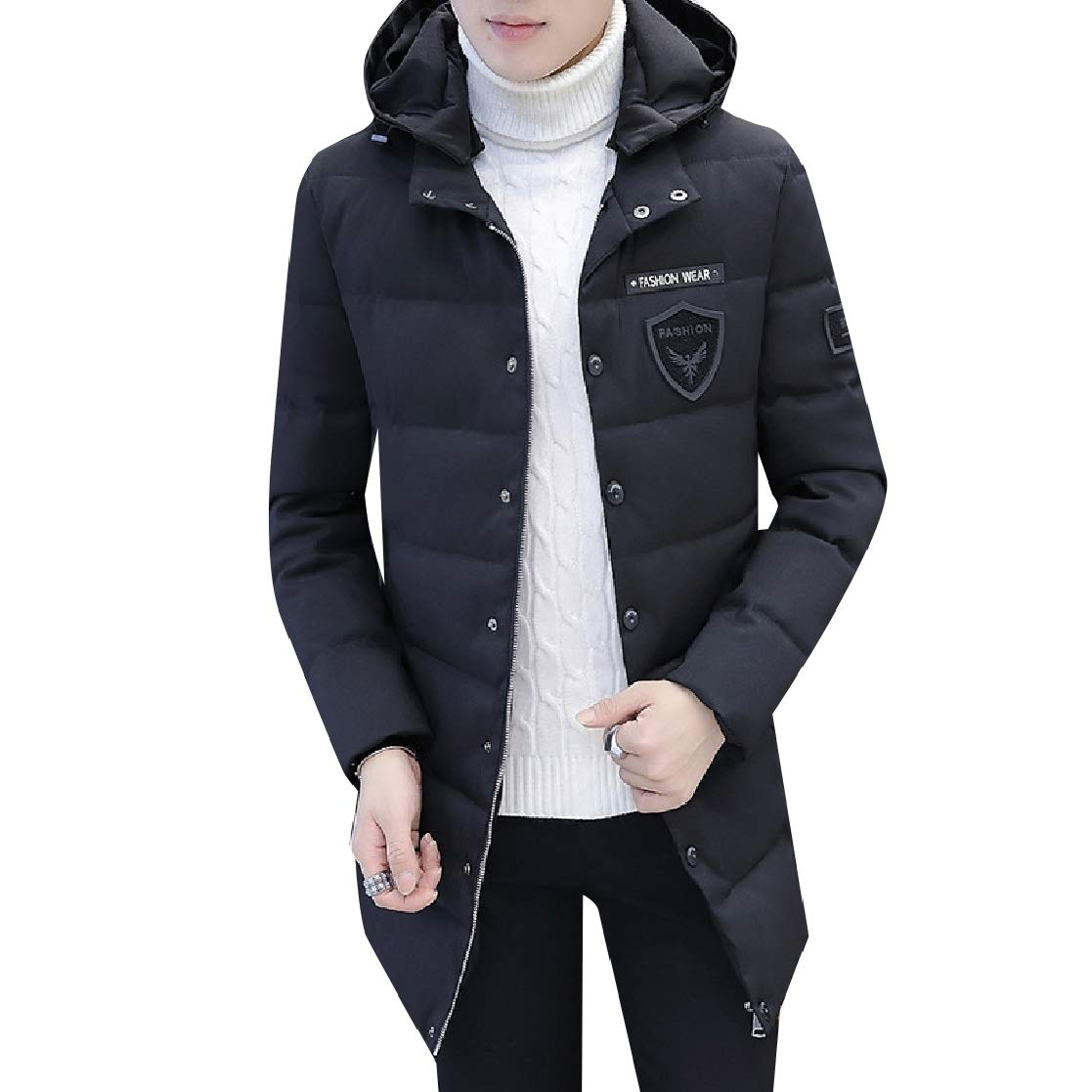 YUNY Mens Solid-Colored Leisure Warm Thick Oversize Down Jacket 11 L