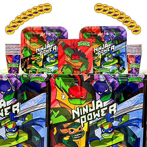 Rise of the TMNT Party Supplies Pack for 16 Guests | Stickers, 16 Paper Dinner Plates, 16 Paper Lunch Napkins, Paper Cups, and Table Cover | Teenage Mutant Ninja Turtles Birthday Party Supplies]()