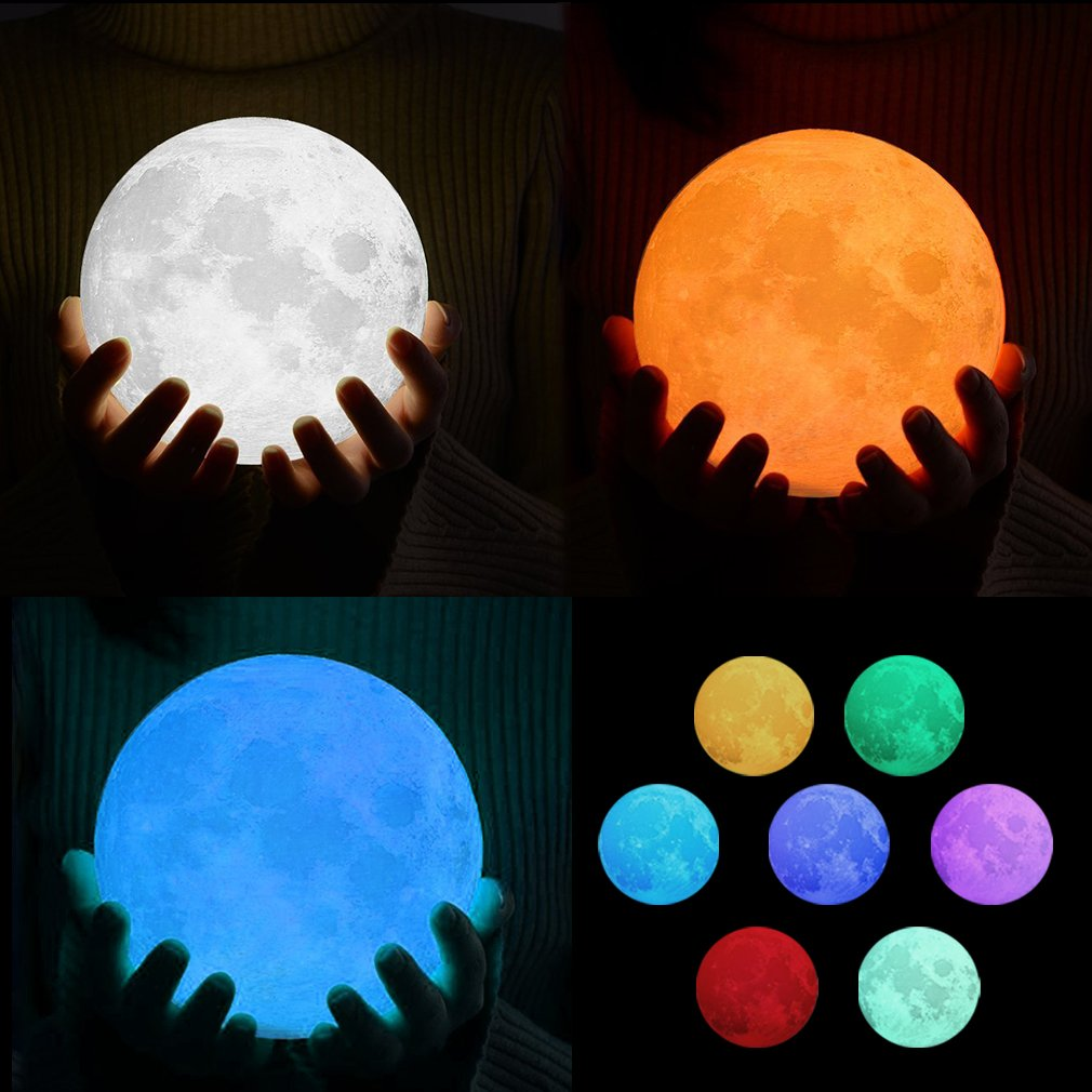 LED Moon Night Lamp, Decorative Moon Light 7 Color (Red, Green, Blue, Yellow, Cyan, Purple, White) Change Touch Control Brightness with USB Charging Night Light Best Gift for Kids, Lover (5.9 Inch)