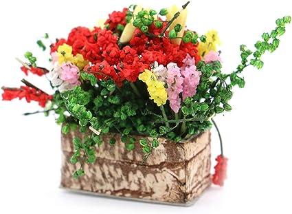 1//12 Dollhouse miniature plant multicolor flower with wood pot garden accessoS*