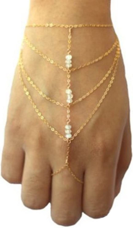 B SROVFIDY mehrlagige Finger Ring Armband Hand Celebrity elegante Harness Quaste Slave Kette Kettenglied