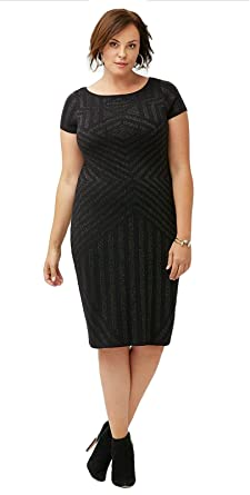 44d71429578 Lane Bryant Dress Metallic Black Jacquard Sheath(26 28) at Amazon ...