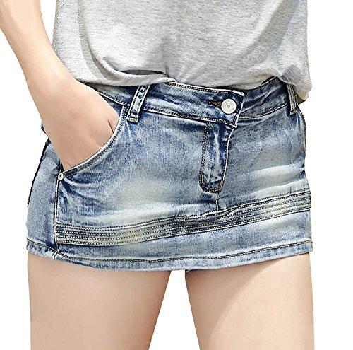 熟考するあたり上級Lisa Pulster レディース デニム ショート パンツ ダメージ ヴィンテージ キュロット スカート ミニスカート 着痩せ 夏 S-XL