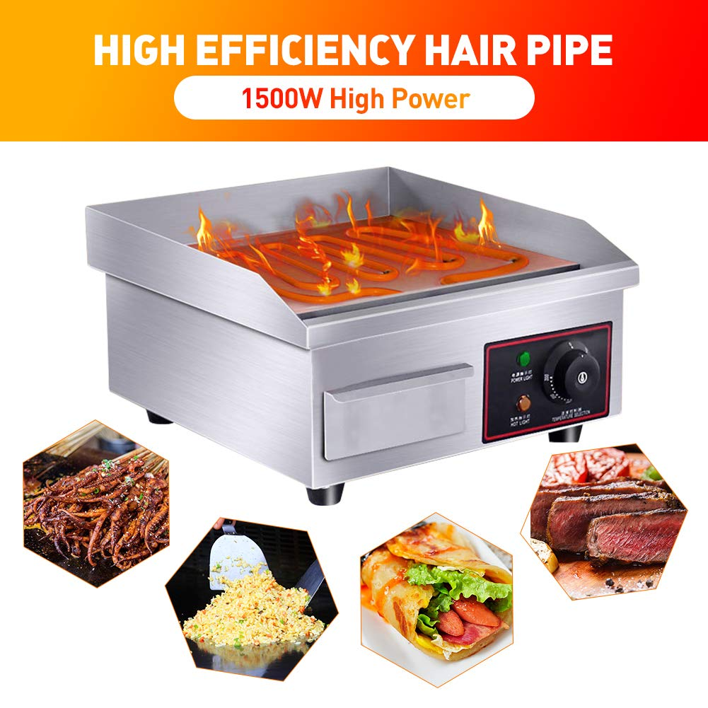 WooBrit BBQ Griddle Plate Electric Commercial Griddle BBQ Cast Iron Countertop Griddle Plate Stainless Steel Built-in Thick Heating Tube 1500W