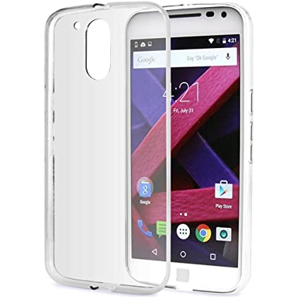 uk availability 1a0b1 c66fe Macsoon Soft Silicon Rubber Back Cover for Motorola Moto G4 Plus  (Transparent)