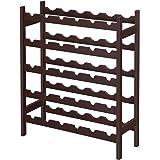 SONGMICS Bamboo Wine Rack, 5-Tier Storage Shelf, Holds 30 Bottles, Freestanding Display Stand Shelves, Wobble-Free…
