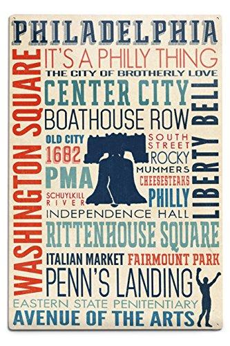 Lantern Press Philadelphia, Pennsylvania - Typography with Boxer Silhouette (12x18 Aluminum Wall Sign, Wall Decor Ready to Hang)