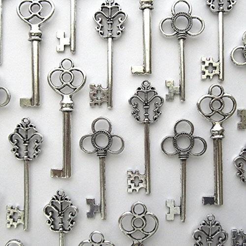 Set Of 30 Mixed Large Keys Wall Decor Large Set Antique Vintage Home  Jewelry Sil