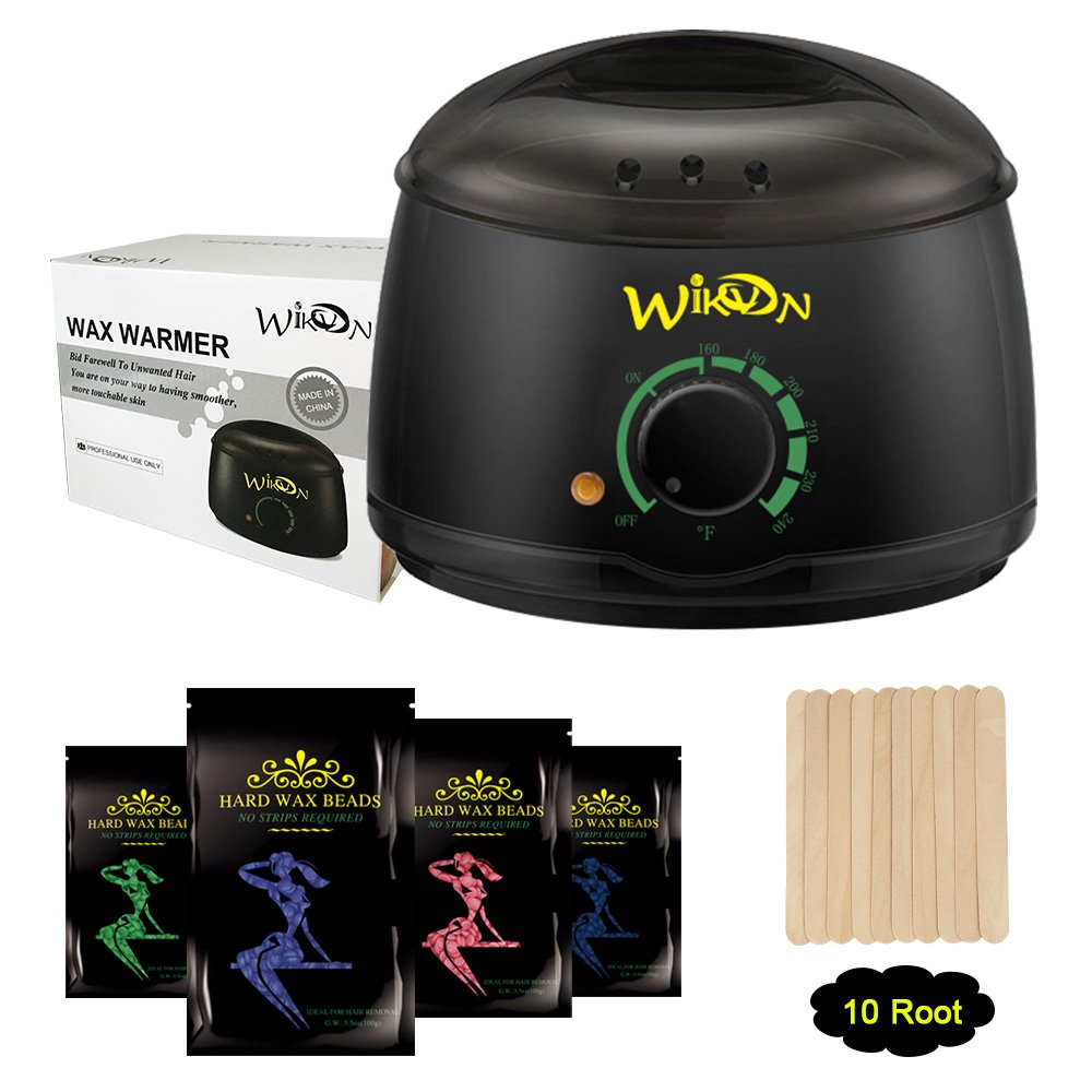 Wax Warmer, Electric Hair Removal Waxing Kit with 4 Packs of Hard Wax Beans and 10 Wax Wooden Spatulas (at-Home Waxing for Women and Men) (Black) Wikvon