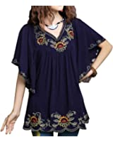 Ashir Aley New Floral Embroidered Butterfly Sleeve Wrap Ruffled Peasant Tops Blouse