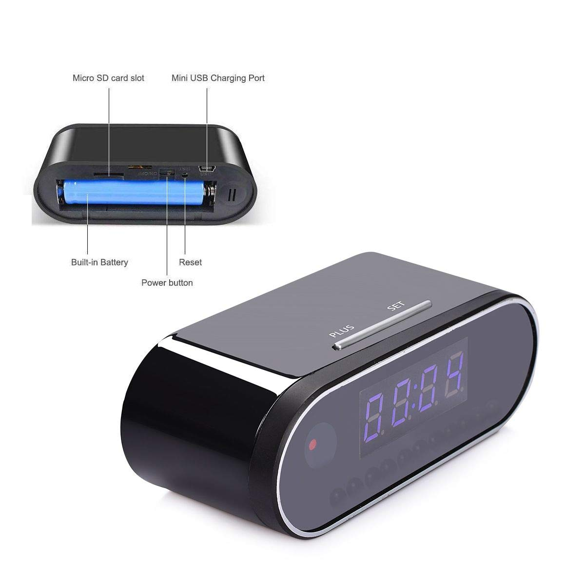 ABESTSUN WiFi Spy Camera Alarm Clock Hidden Nanny Cam,1080P Motion Detection Loop Recording Home Security Video Camera Cameratechspy zhishengcam clockcam