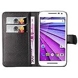 Hochwertige Kunst-Leder-Hülle mit Magnetverschluss für Motorola Moto G3 von mangao® Case Handyhüllen
