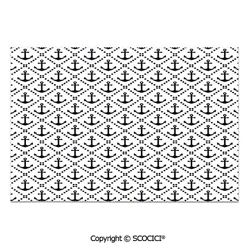 SCOCICI Set of 6 Heat Resistant Non-Slip Table Mats Placemats Dotted Frames Anchors Pattern Chevron Style Zigzags Theme Image Decorative for Dining Kitchen Table Decor