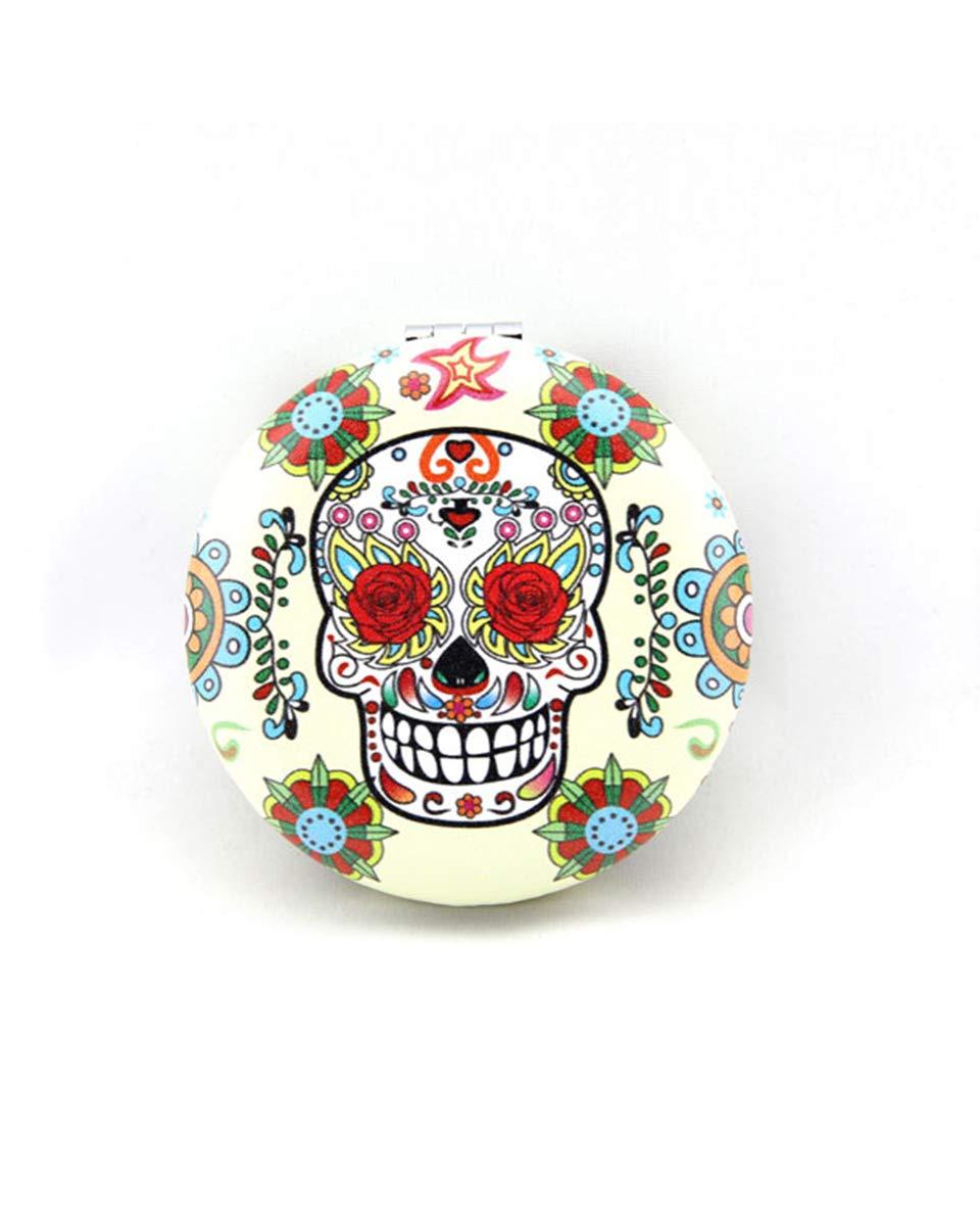 Sugar Skull Compact Mirror Make Up Mirror For Women Skull Gifts (White Mirror)