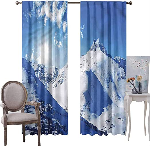 Amazon Com Blackout Curtains Winter Rustic Style Panel Curtain Sunrise At Mountain For Home Decor Window Set Of 2 Panels W52 X L72 Inch Home Kitchen