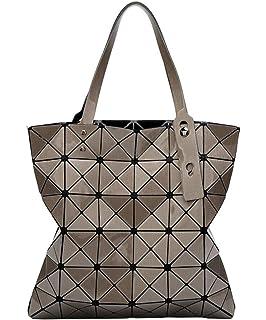 6a2fe7fe36ae Katoony Womens PU Leather Geometric Diamond Lattice Shoulder Handbag Tote  Bag Top Handle Bag Satchel