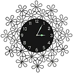 Lulu Decor Daisy Wall Clock, Decorative Metal Wall Clock, Black Glass Dial in Arabic Numerals, Clock Diameter 23.50, Modern Wall Clock, Silent Non-ticking, Perfect for Housewarming Gift (Number)