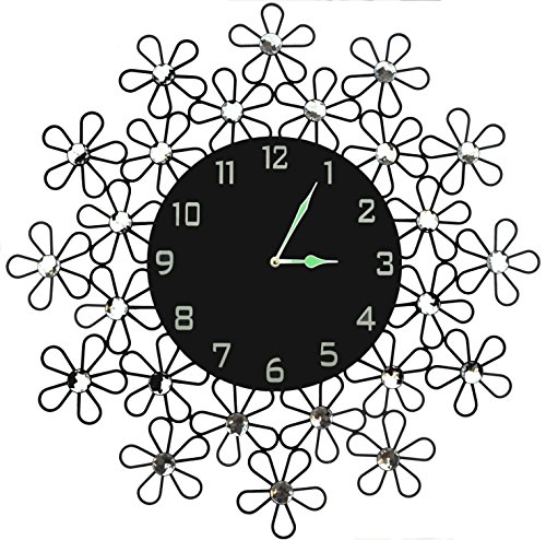 "Lulu Decor, 23.5"" Daisy Metal Wall Clock, 9"" Black Glass Dial with Arabic Numerals, Decorative Night Dial Clock for Living Room, Bedroom, Office Space"