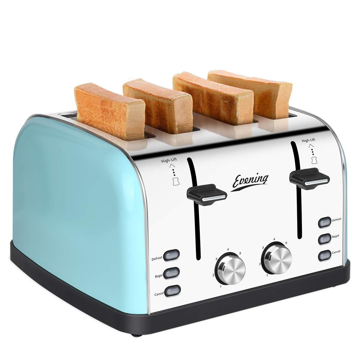 Toaster 4 Slice Toasters Best Rated Prime Wide Slot Stainless Steel Toaster Four Slice Bread Bagel Toaster Defrost/Reheat/Cancel Function, Extra Wide Slots, Removable Crumb Tray 7-Shade Setting