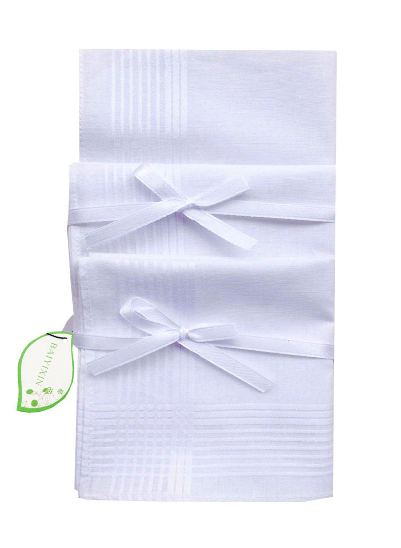 Men's Fashion White 100% Cotton Handkerchiefs New Classic Hankies(HAKSB009)
