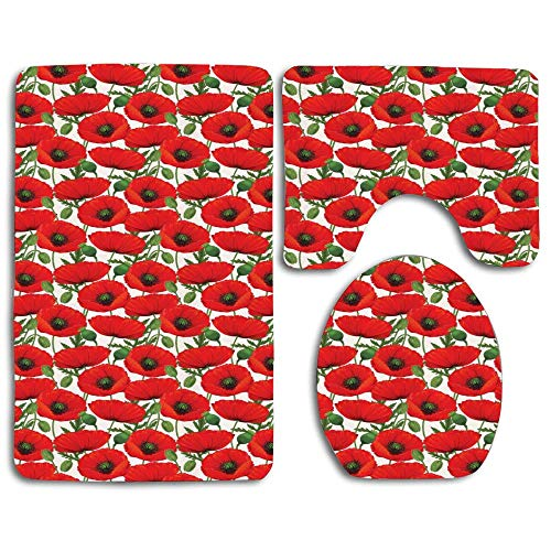 EnmindonglJHO Detailed Arrangement of Romantic Poppies Spring Nature Ornamental Thicken Skidproof Toilet Seat U Shaped Cover Bath Mat Lid Cover