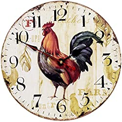 Home Decor Clock, Colorful Retro Arabic Numerals Style,Silent Non -Ticking Quartz Wooden Wall Clock, Large Wall Art Decorative for Kitchen,Living Room,Kids Room and Coffee Decor (14 Inch, Rooster)