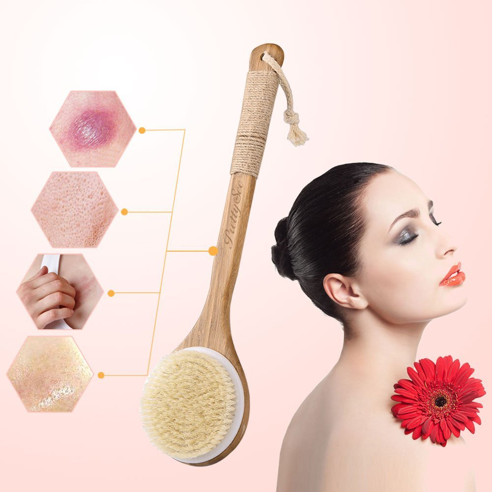 Pretty See Bath Body Brush Boar Bristles Exfoliating Body Massager with Long Wooden Handle for Dry Brushing and Shower by PRETTY SEE (Image #4)