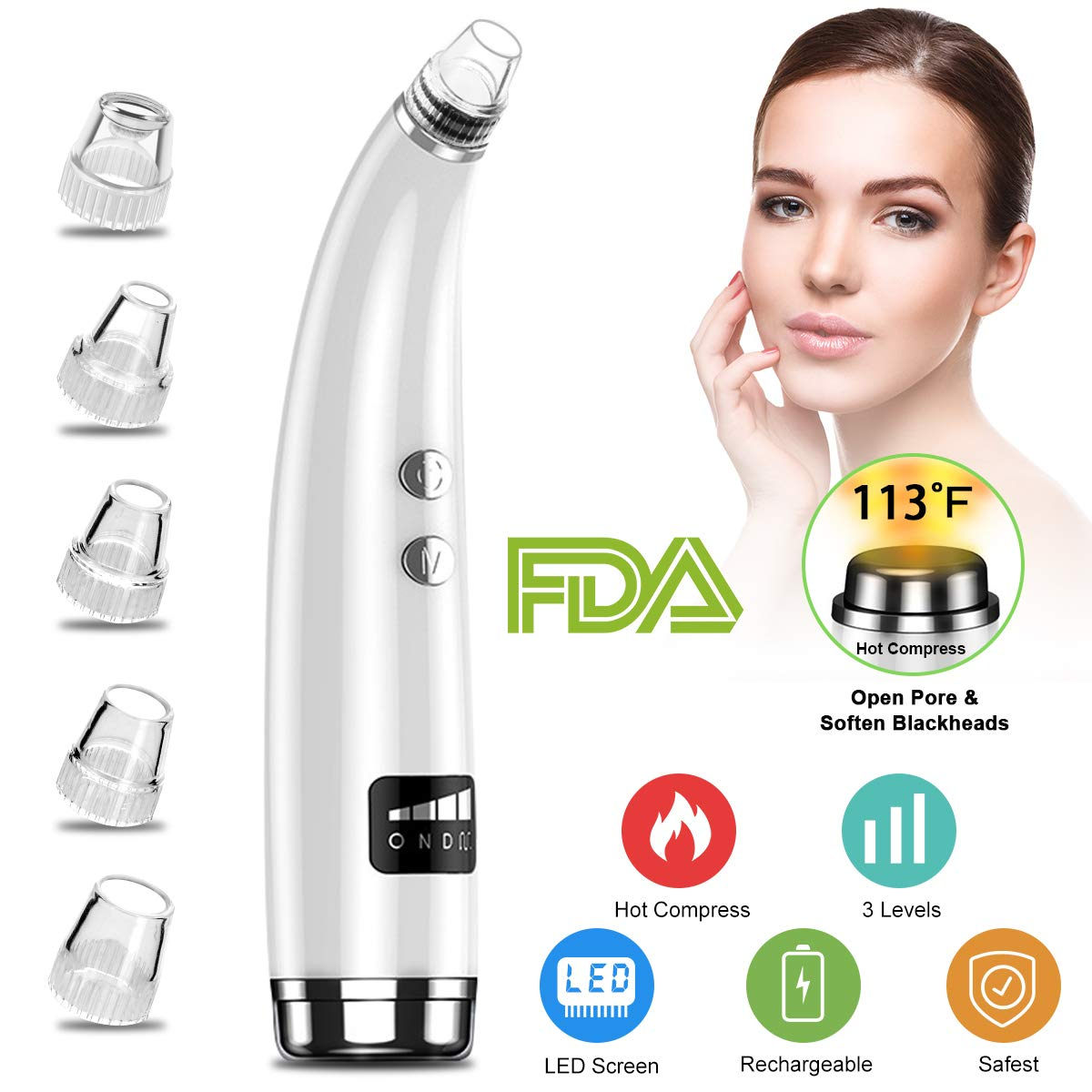 Blackhead Remover,Vacuum Blackhead Removal Peel Tool Extractor Electric Skin Pore Cleaner, Rechargeable Suction Comedone Acne Eliminator Device for Nose Face Men Women