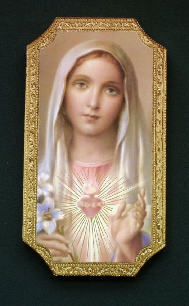 Immaculate Heart of Mary Florentine Plaque, 4.75 x 9 inches. Made in Italy