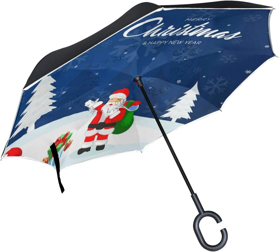 Mr.XZY Merry Christmas Inverted Umbrella Santa Claus Penguin Gift Snowflake Windproof UV Protection Double Layer Inverted Umbrella with C-Shaped Handle 2010441
