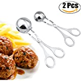 "Meat Baller, Justdolife 2 PCS Stainless Steel Meat Baller Tongs Cake Pop Meatball Maker Ice Tongs Cookie Dough Scoop for Kitchen, Ball size 1.38""&1.78"""