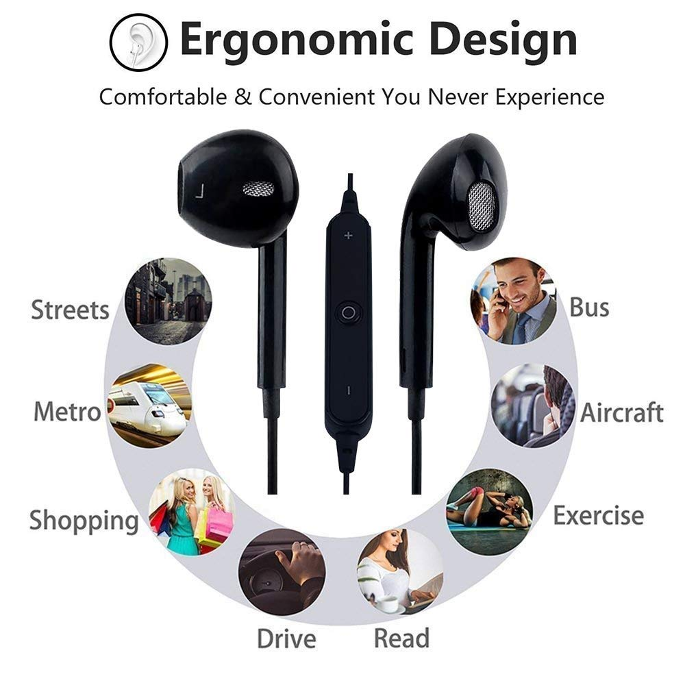Bluetooth Headphones 4.2 Wireless Sports Earphones HD Stereo Sweatproof Earbuds Magnetic Connection Headset for Gym Running Workout,Built-in Mic
