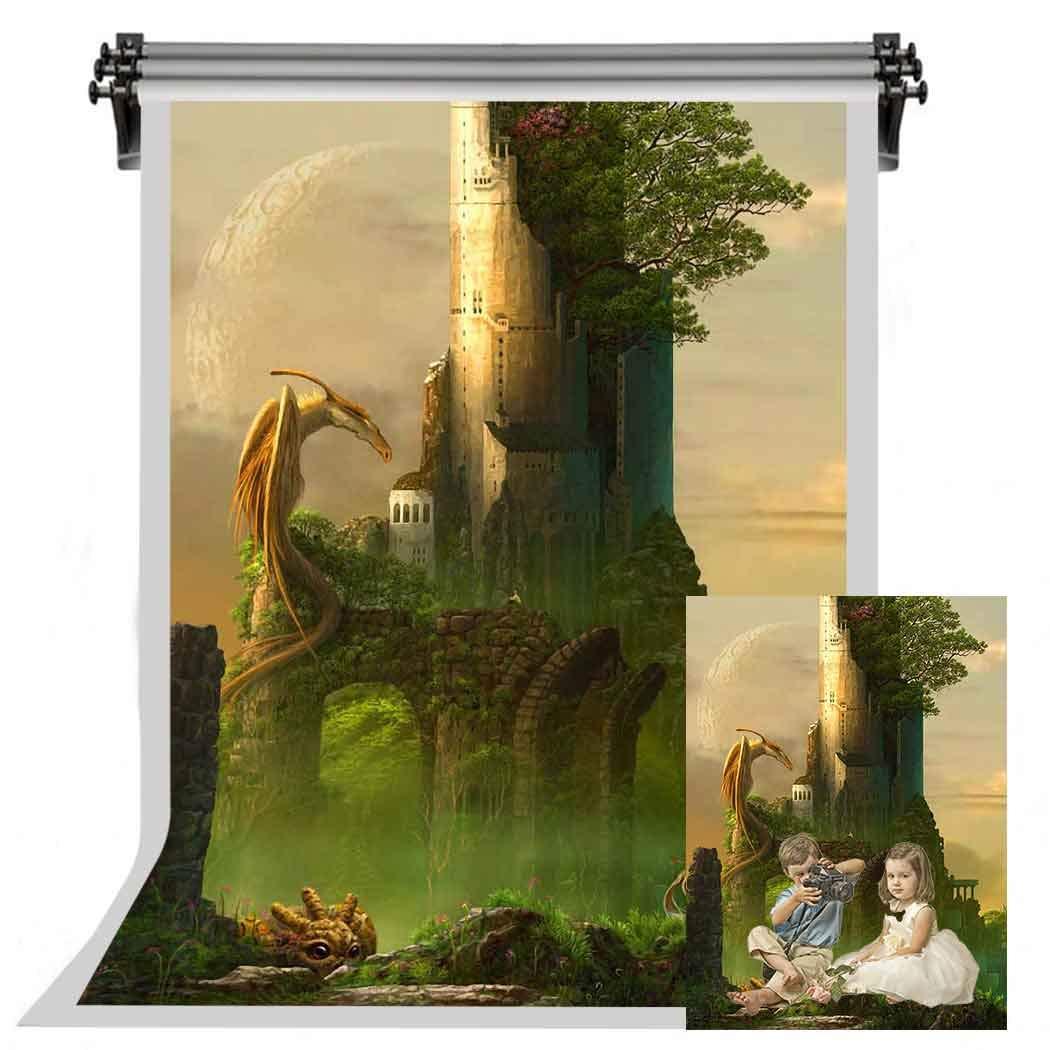 F-FUN SOUL フェアリーテイルテーマ 背景 ドラゴン城 背景 木 星 写真 背景幕 子供のパーティーインテリア 壁紙 5x7フィート FSYM160   B07HVR4QR2