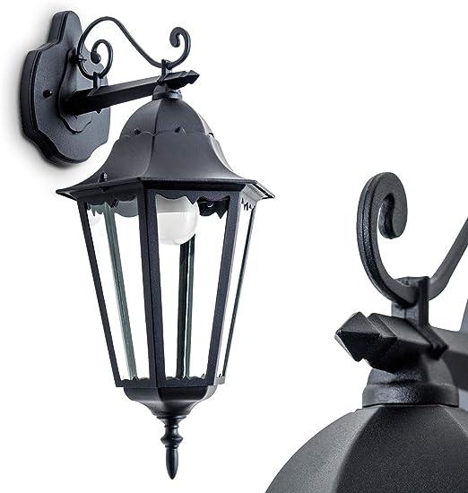 Außen Leuchte Wand Garten Lampe Beleuchtung Hof HOME schwarz Glas transparent