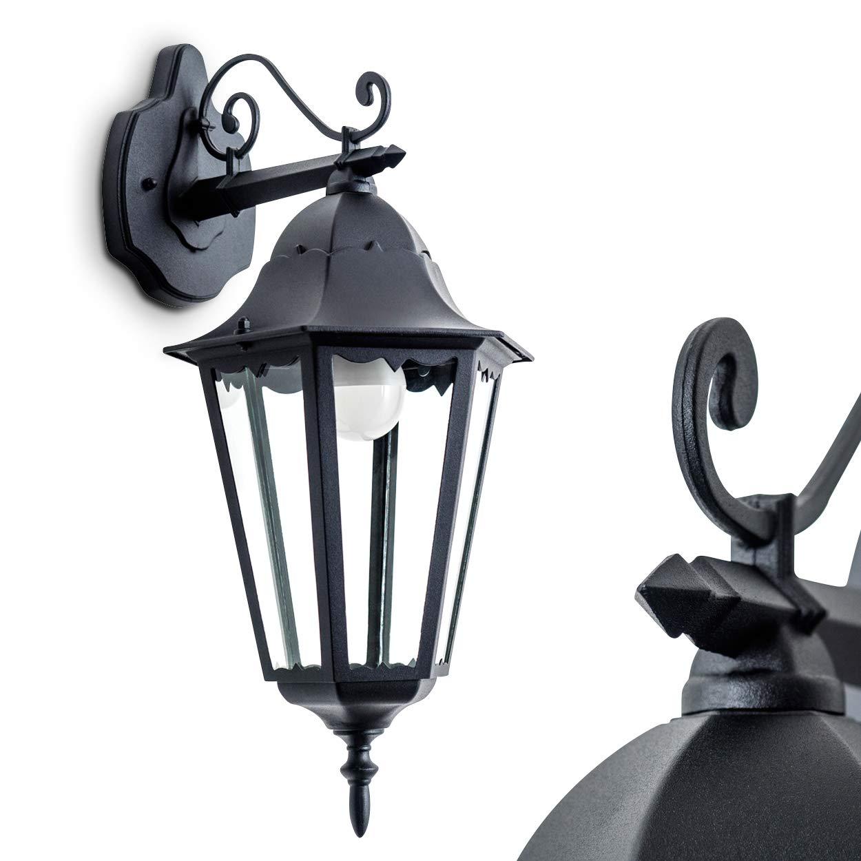 klassische Außenstehleuchte Hongkong mit Bewegungsmelder im klassischem Look in schwarz Sockelleuchte aus Alu und Glas – Wegeleuchte mit E27-Fassung – Pollerleuchte LED geeignet hofstein 11333LJ-PIRsw