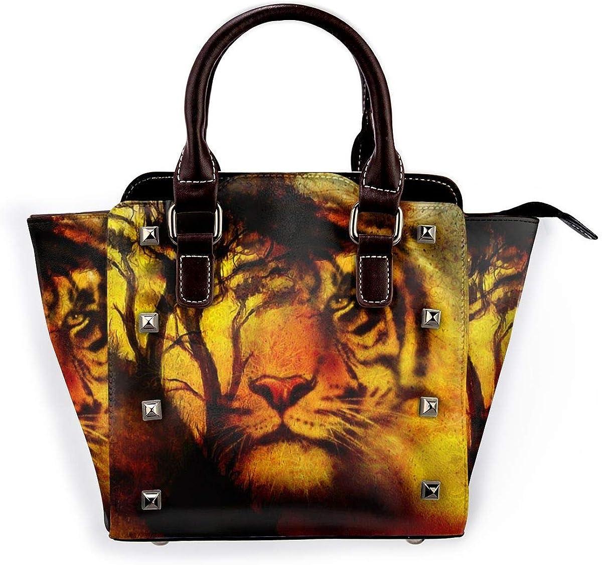 Bolso de hombro de piel auténtica con diseño de hojas de animales tropicales Atardecer Tigre Y Árbol