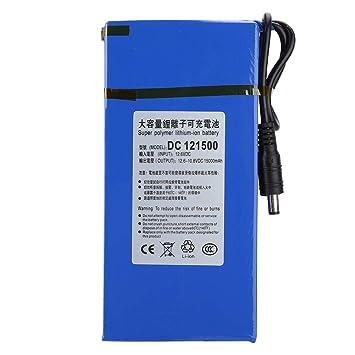 Garsent Batería de Litio Recargable, 15000mAH Batería de Litio de Polímero de Gran Capacidad Interruptor de Encendido/Apagado Incorporado para Cámara Inalámbrica, TV LCD para Auto(EU Plug): Amazon.es: Electrónica