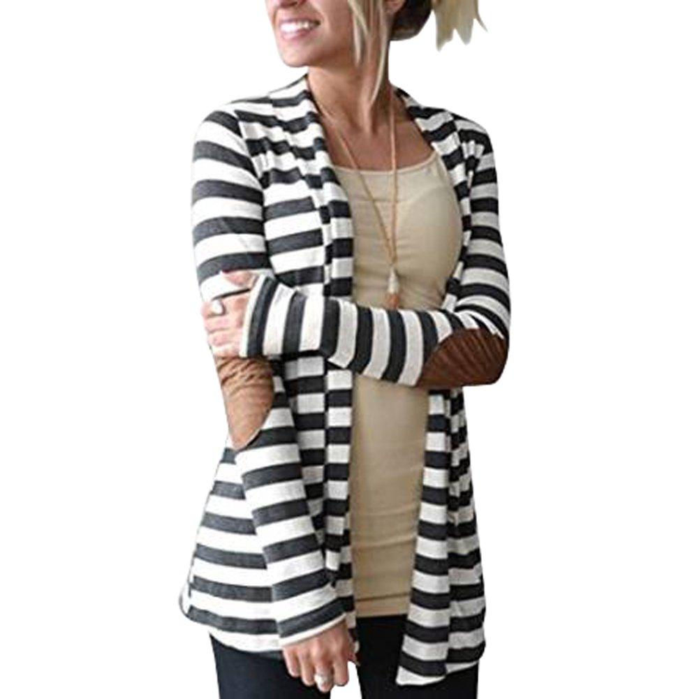 Merryfun Women's Elbow Patch Striped White Black Cardigan Sweater 2XL