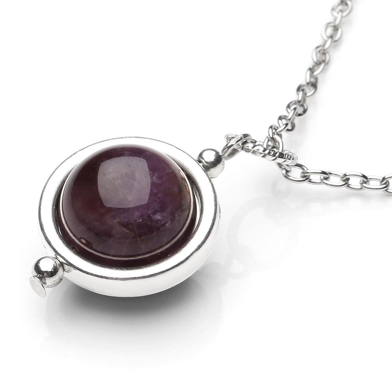 QGEM Collier de Pendentif Boule Perle en Energie Pierre Chakra Naturelle Anniversaire Fête Cadeau Idéal pour Femme Fille(Améthyste)