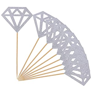 Topoox 50 Pack Cupcake Toppers Silver Glitter Diamond for Bridal Shower Party Cake Decoration Supplies