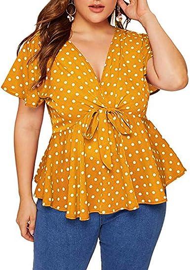 Camisetas Mujer Tallas Grandes De Fiesta Originales Blusa Mujer Blusas para Mujer Elegantes Verano Womens Plus Tamaño V Cuello Camisa De Manga Corta Top Polka Dot Nudo Delantero Blusa: Amazon.es: Ropa y