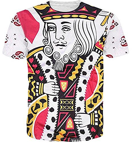 HWHColor Juniors King of Hearts Playing Card Shirt White Graphic Tee,Print4,Asia XL - US - King T-shirt Hearts