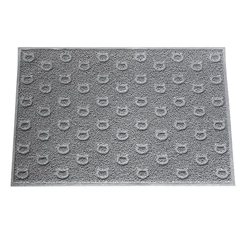 Pet Champion 35″ Cat Face Pattern Litter Mat, Gray, Large, Model:PTCTPVCLM