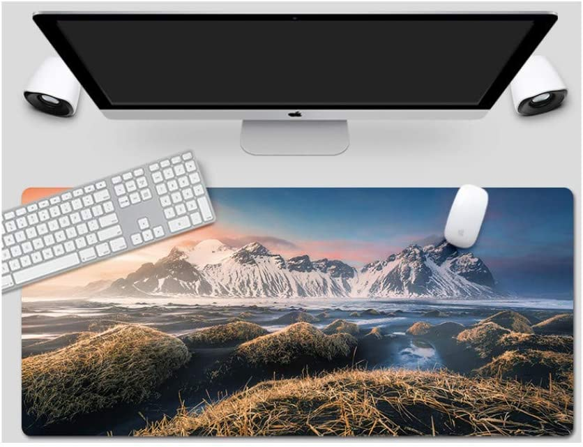 Large Padded Waterproof Non-Slip Keyboard Pad Mouse Pad Suitable for Desktop Computers//Notebooks,1200x600mmx4mm Icelandic Style Desk Pad