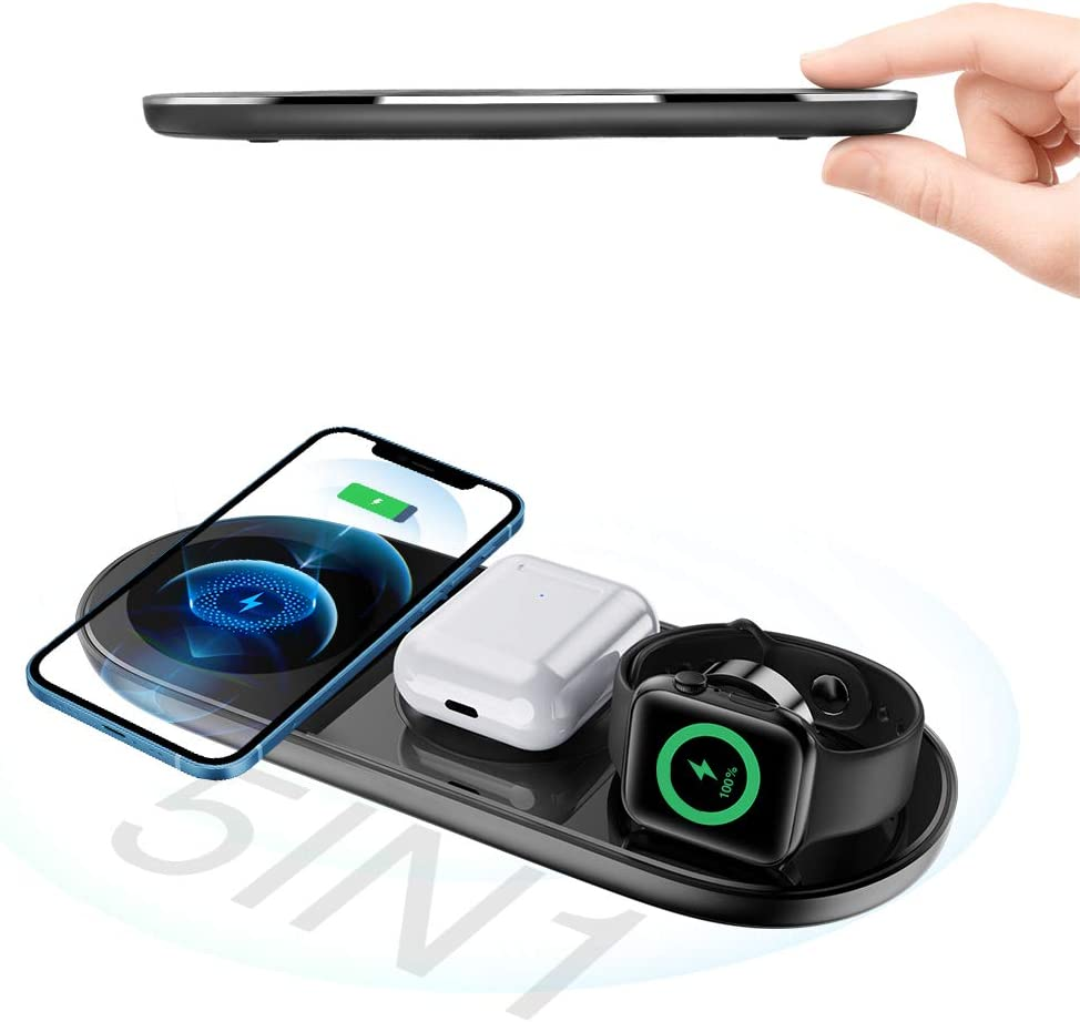 Wireless Charger, aobo 5 in 1 15W Fast Wireless Charging Pad for Multiple Devices Qi-Certified Charging Station for Apple Products Compatible with iPhone/AirPods/Apple Watch/Galaxy Watch/Samsung Phone