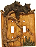 Wildlife Creations 4135 Bear Double Switch Plate Cover
